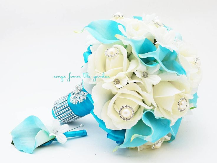 Blue & White Bridal Bouquet featuring Roses Calla Lilies Stephanotis and Groom's Boutonniere