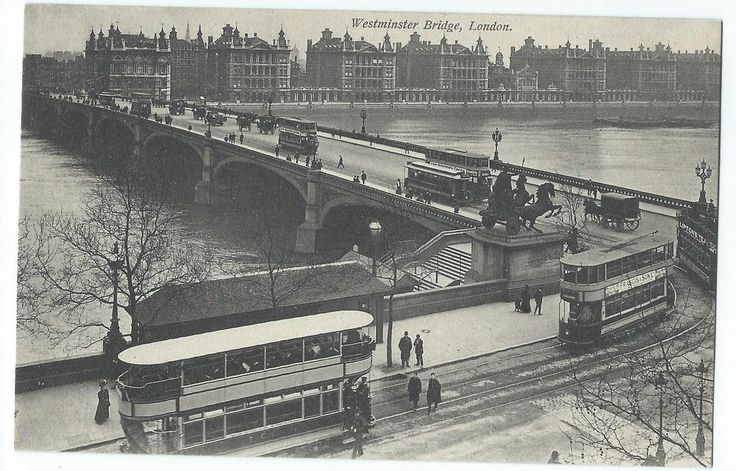 London, England, Westminster Bridge, Double Deck Streetcars, Litho, c1930's