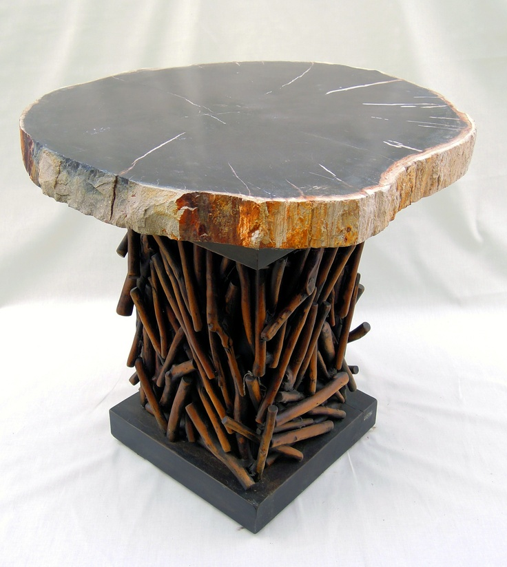 Petrified Wood Slab Table And Twig Base. New From Wesco Fabrics.