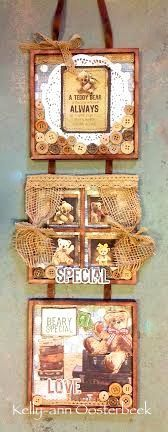 A BTP set of 3 hanging frames made using the Teddy Bears Picnic Collection from kaisercraft By Kelly-ann Oosterbeek.
