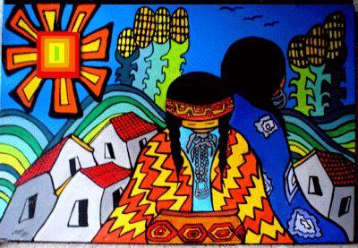 """El Naif de Claudia... - Pintura y arte naif de Chile: """"MAPUCHES"""""""