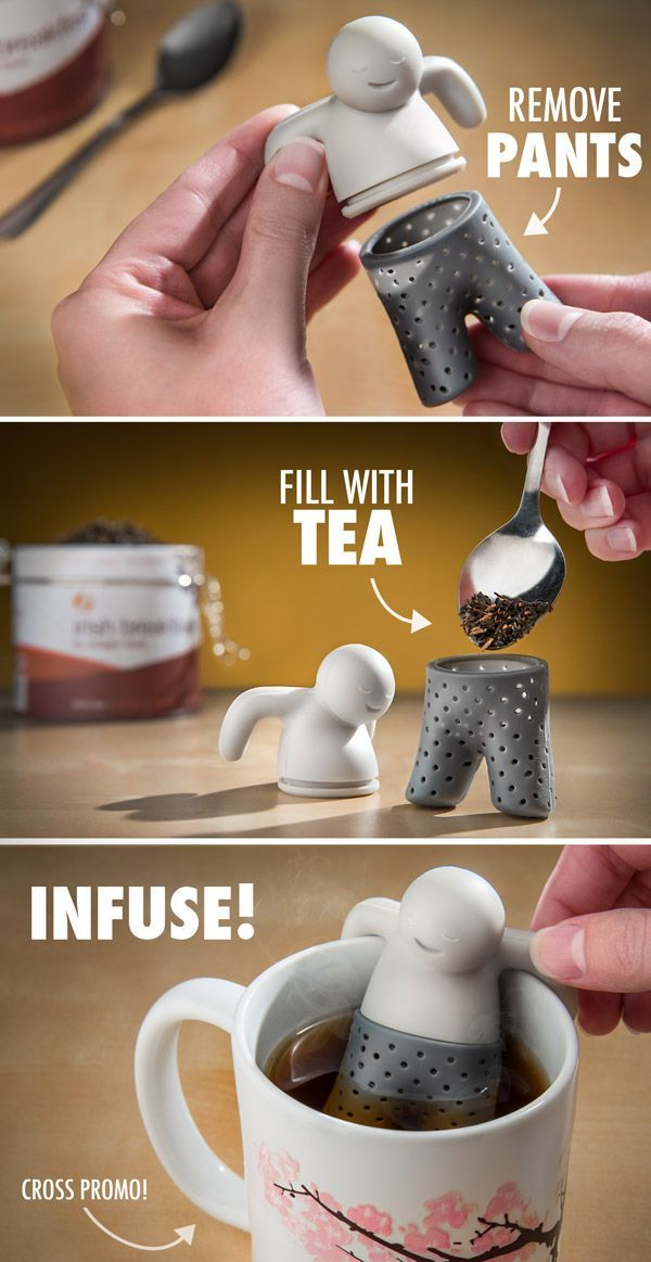 Mr. Tea Infuser. I purchased this from Amazon and works great with big loose leaf tea. Very cute and easy to clean.-WJO