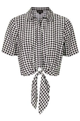 Topshop Gingham Tie Front Shirt