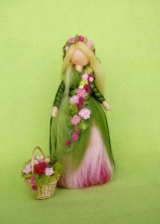 SPRING FAIRY Doll Needle Felted Wool  Pink and Green Soft Sculpture Waldorf inspired