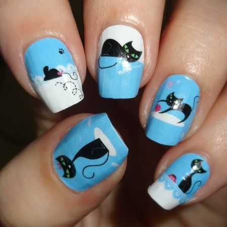 OMG Nails Strips - Evil Cat #bluenails #catlovers #pet #nailart - bellashoot.com