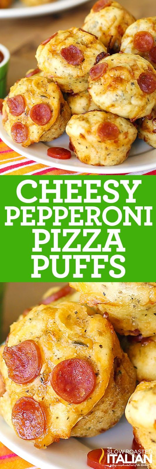 Bite Size Cheesy Pepperoni Pizza Puffs in 30 Minutes are just like your favorite pizza in bite size!