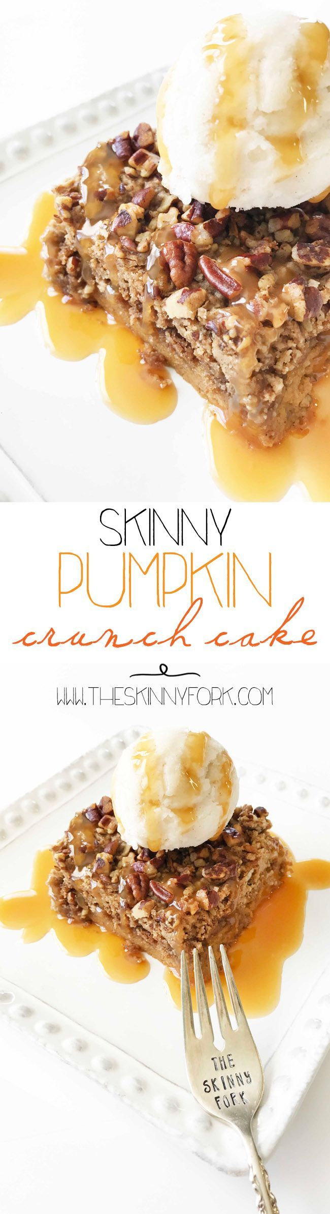 This Skinny Pumpkin Crunch Cake is gonna knock your socks off! TheSkinnyFork | Skinny & Healthy Recipes