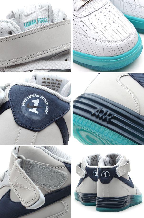 Nike Lunar Force 1 Mid LTHR Pure Platinum Squadron Blue