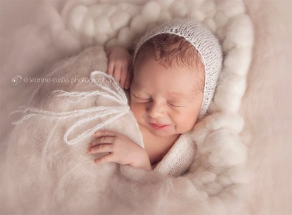 Lace Plain Bonnet by TaiterTotProps on Etsy  Sweet Lace Plain Bonnet  Knitted with lace mohair yarn, intended as a Newborn Photography Prop., great for any photographers prop stash!  Multiple colors to choose from