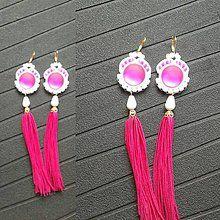 Náušnice - Náušnice so strapcom- ružové - 7145007_