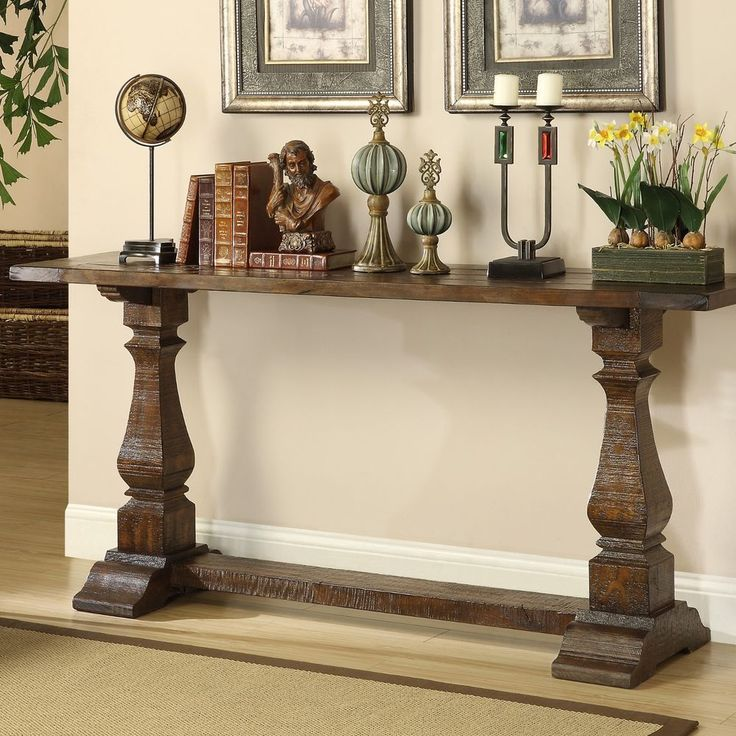 100% Pine Wood Hand Hewn Crafted Entry Hallway Accent Console Sofa Table
