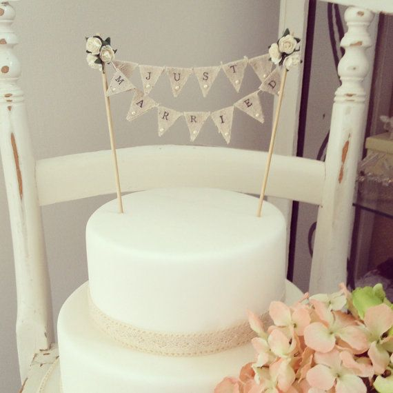 Fabric Bunting Wedding Cake Topper by TheLittleTiaraRoom on Etsy, £13.99
