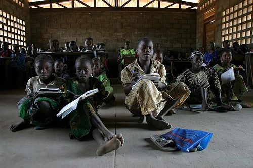 IDPs and local children in the only school of Kabo by hdptcar, via Flickr