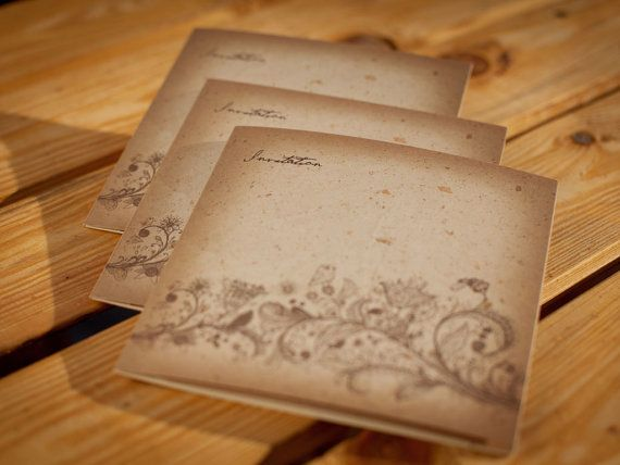 Handdrawn Vintage Wedding Invitation Booklet // by BudapestWP, $8.95