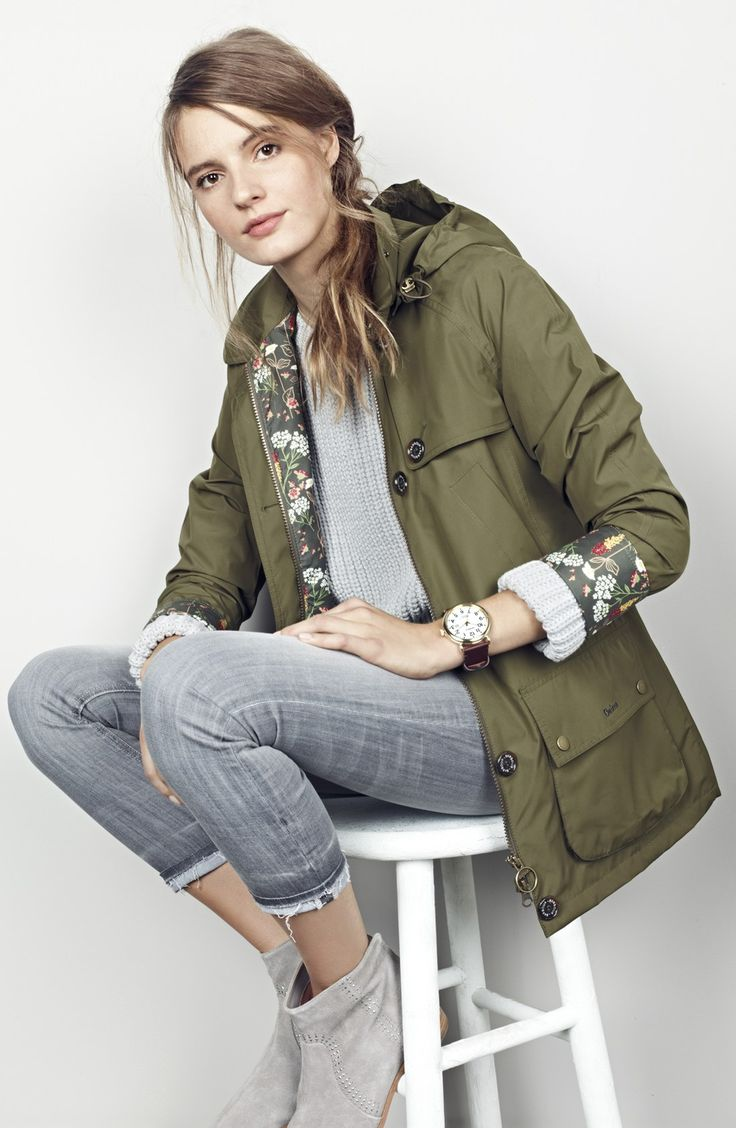 Barbour 'Wytherstone' Waterproof Rain Jacket - LOVE the peak of floral!