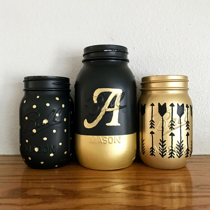 Black And Gold Mason Jar Set With Monogram | Girlu0027s Room Decor | Arrows |  Polka