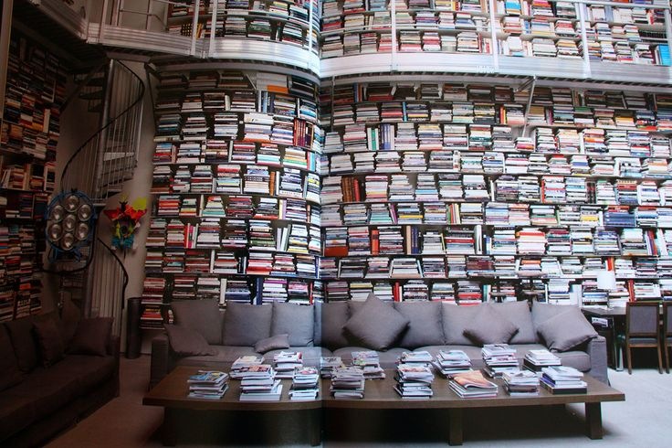 Two stories, walls of books