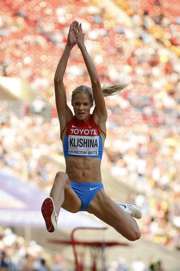 Russia's Darya Klishina competes on the women's long jump final at the World Athletics Championships in the Luzhniki stadium in Moscow, Russia, Sunday, Aug. 11, 2013. (AP Photo/Matt Dunham)