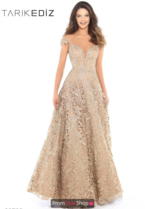 c4a5a641ce84 You will look like a golden goddess in this stunning Tarik Ediz Evenings  gown 93739. The lace dress has an off the shoulder illusion neckline with  dainty ...