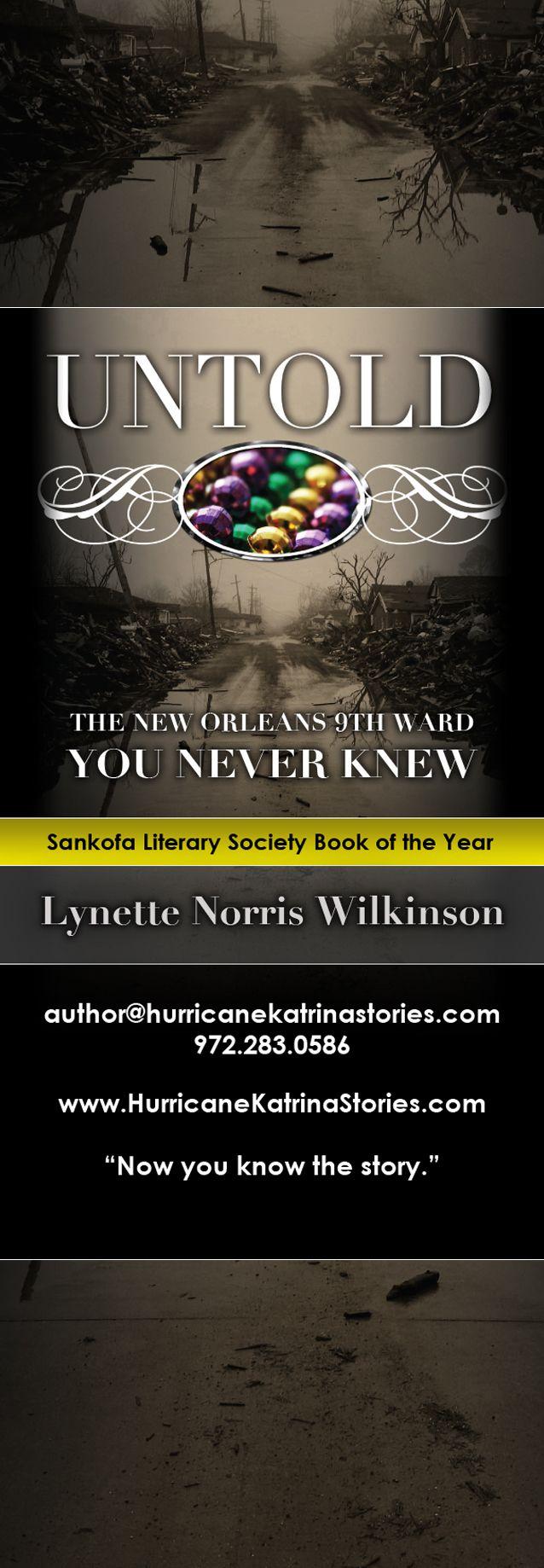 """Flyer Design (2"""" x 6"""" Bookmark) for UNTOLD novel by Author Lynette Norris Wilkinson, designed by Moksha Media of Dallas - Daymond E. Lavine"""