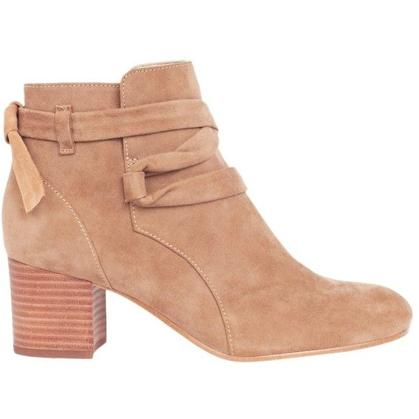 Karen Millen Casual Block Heeled Ankle Boots, Taupe ($240) ❤ liked on Polyvore featuring shoes, boots, ankle booties, faux-leather boots, flat leather boots, taupe ankle boots, block heel ankle boots and low ankle boots