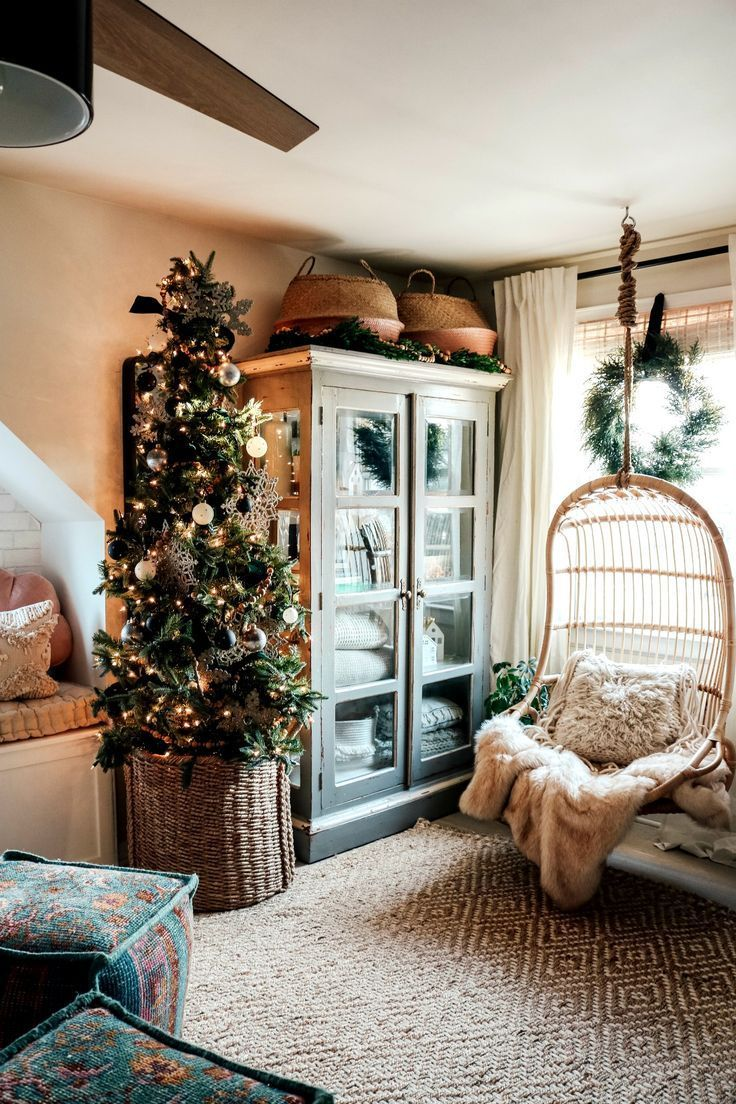 Wayfair Cyber Monday Deals And Christmas In Our Family Room Nesting With Grace In 2020 Modern Christmas Living Room Christmas Living Rooms Boho Living Room