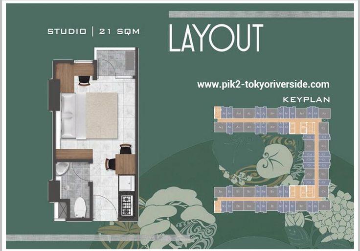 Denah Unit Studio PIK 2 Apartemen Tokyo Riverside