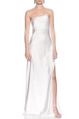 Tek Omuz Askili Beyaz Saten Elbise White Satin Dress By Natalie Rolt 2020 Elbise Satin Omuz