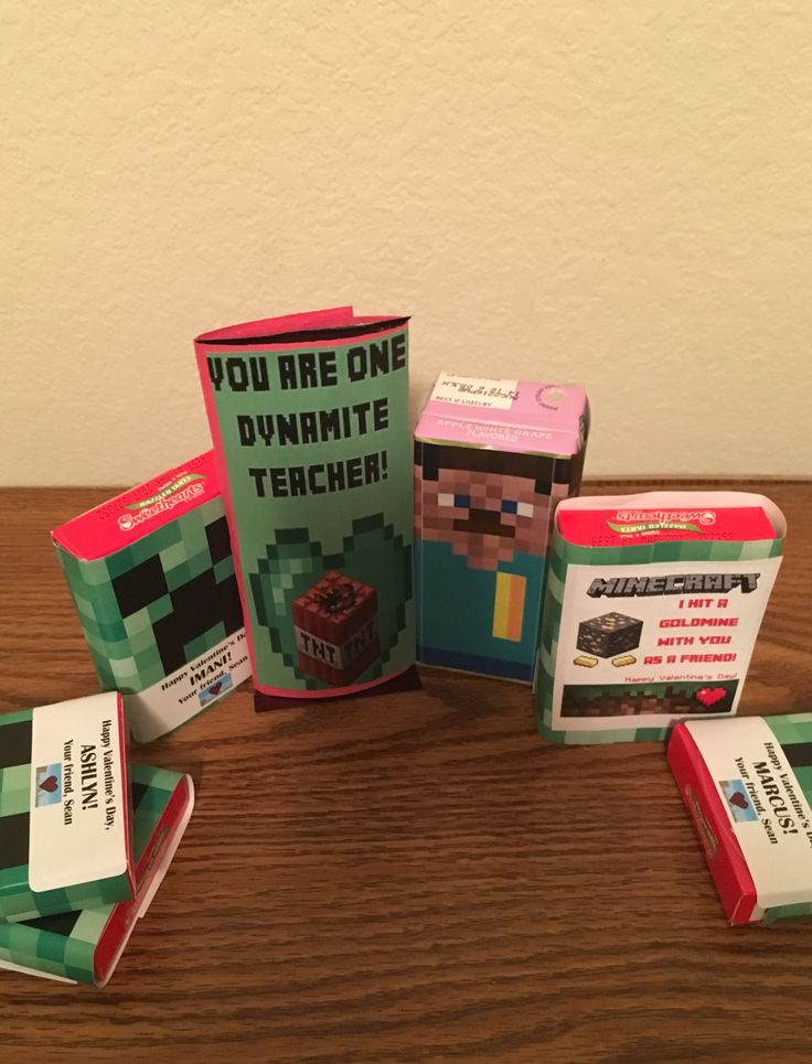 Minecraft party for school easy wrappers to fit candies