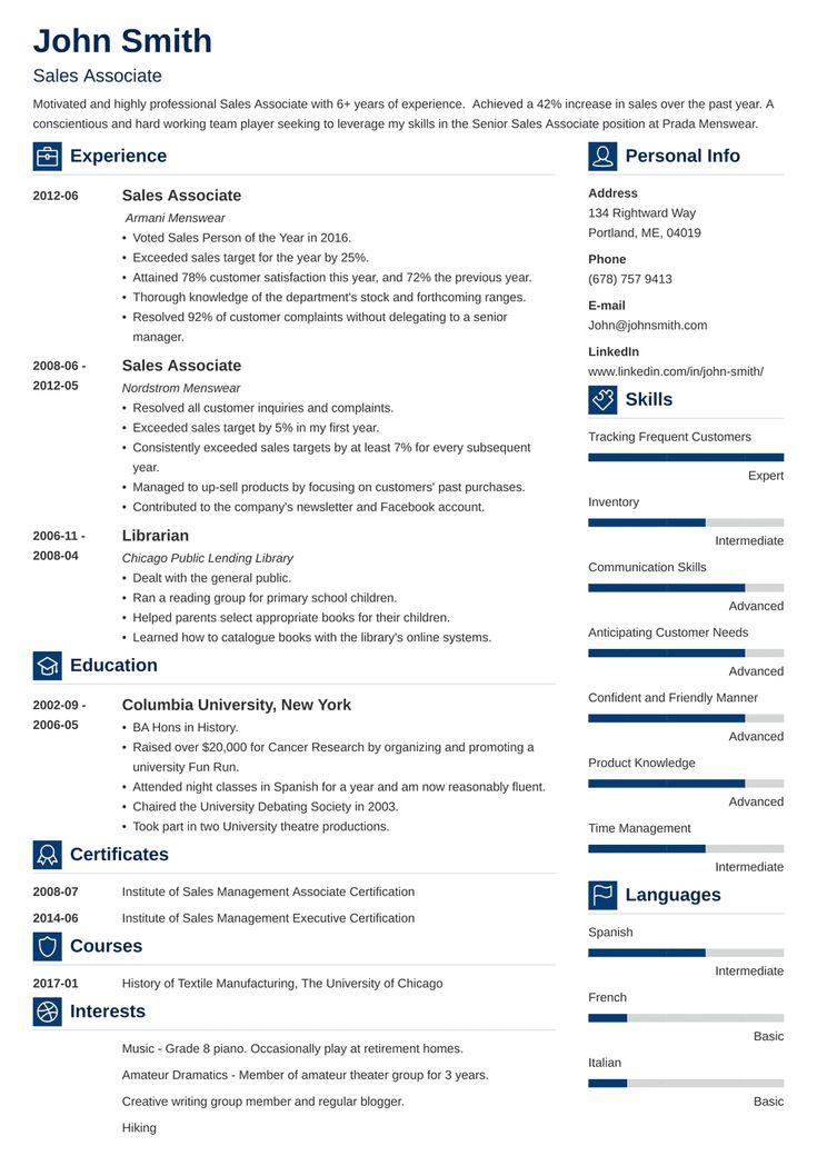 Sales associate resume template vibes in 2020 resume
