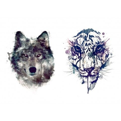 Tatouages temporaires loup et tigre tattoos pinterest - Tete de loup tatouage ...