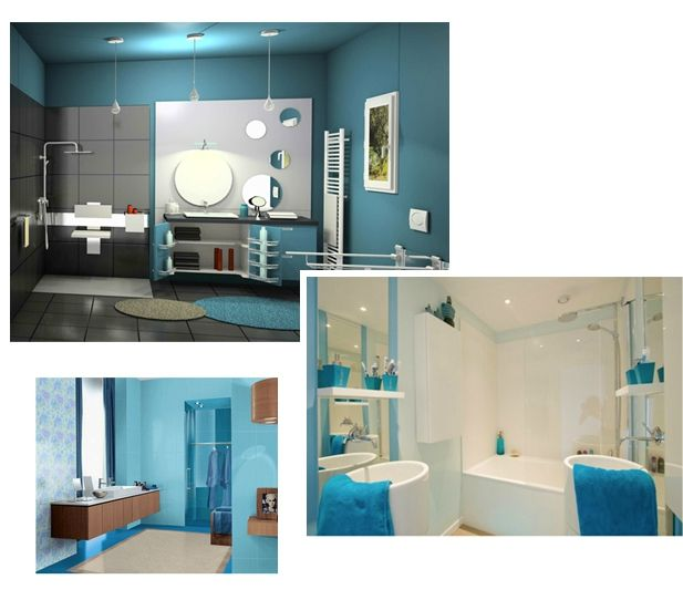 Les 23 meilleures images propos de salle de bain sur pinterest turquoise - Salle de bain mur bleu ...