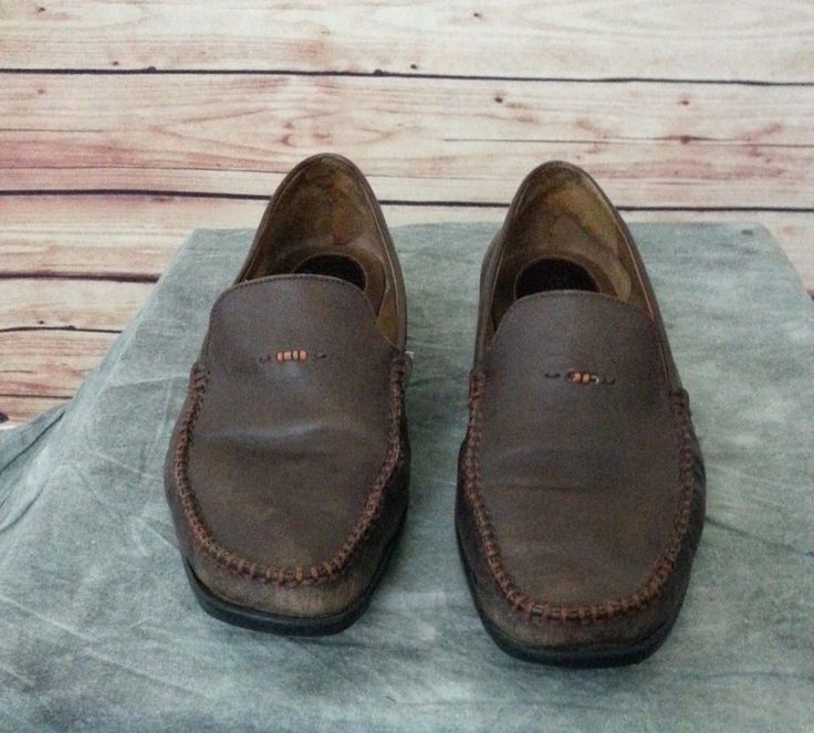 H.S. Trask slip on loafers mens size10 M brown hand crafted #HSTrask #LoafersSlipOns