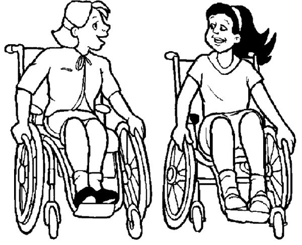 Two Girl Disabilities Coloring Page