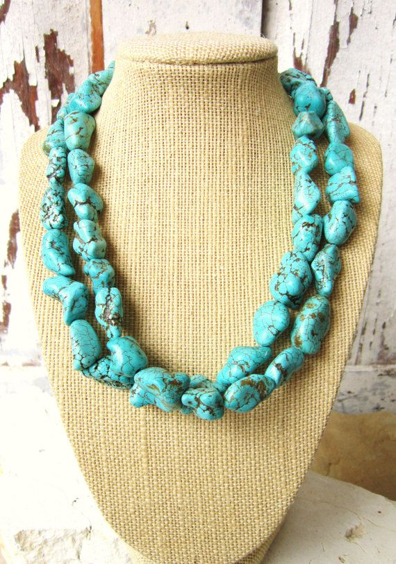 Double Strand Turquoise Necklace.Chunky Nugget Turquoise Statement Necklace.Turquoise Jewelry.Statement Jewelry.Turquoise Bridesmaid Jewelry...