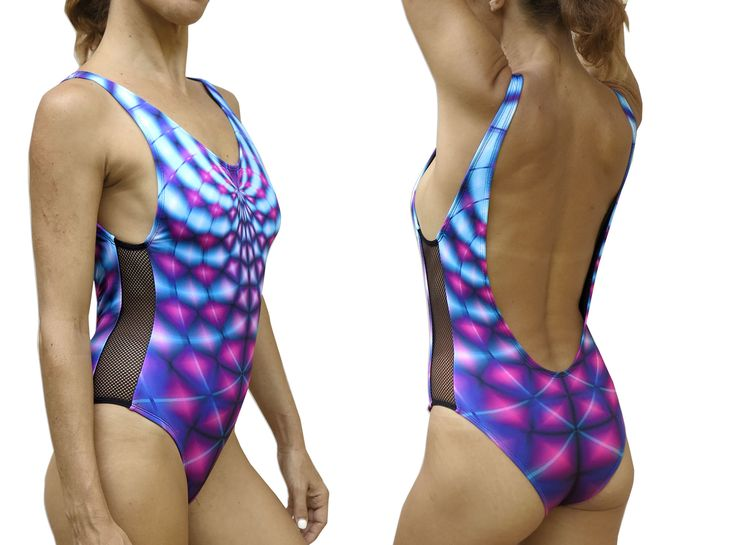 Mesh Swimsuit : Violet Web This ridiculously sexy high cut one-piece Swimsuit/Bodysuit is must have for any summer wardrobe. Rock it from the beach to the festival & the clubs and back again, but most of all..... Rock it with style! Cut to perfection with mesh side panels, super low back and a cheeky cut to accentuate the best parts of you