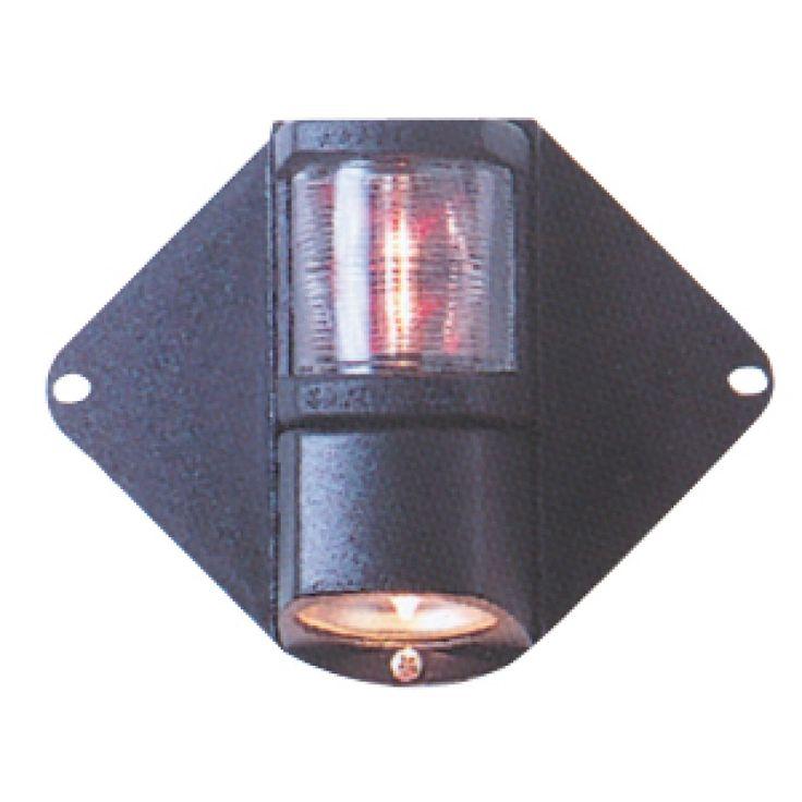 Luz de Mástil combinada 225°, Luz de navegación para montaje en mastil con luz de via blanca 225º y Luz halógena de cubierta, proyector de cubierta 12v x 20w. Esta fabricada en policarbonato negro, las alas son elásticas y se adaptan a todo tipo de mástil
