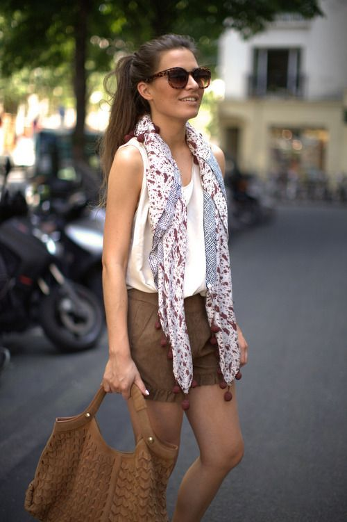 loose scarf paired with shorts and tank for a more pulled together summer outfit
