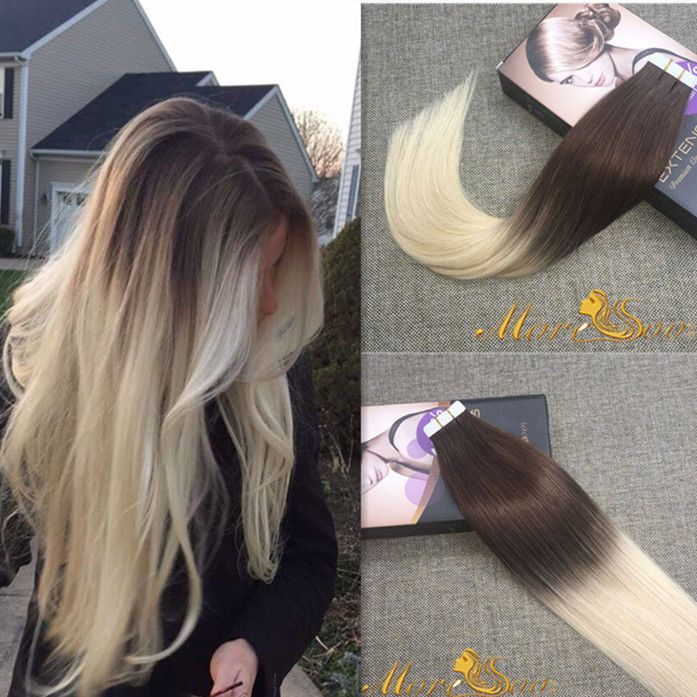 8A European Remy Tape In Human Hair Extensions PU Skin Weft 20pc 50g