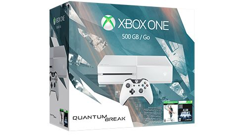 Xbox One Special Edition Quantum Break Bundle (500GB)★★★★★ OfferPrice: $249.00 (was $299.00) save $50.00  The Xbox One Special Edition Quantum Break Bundle Deal includes: 1.Cirrus white Xbox One 500GB console 2.Cirrus white Xbox One wireless controller with 3.5mm headset jack 3.Quantum Break full game download 4.Xbox 360 full game download of Alan Wake (playable on Xbox One) 5.14-day Xbox Live Gold trial