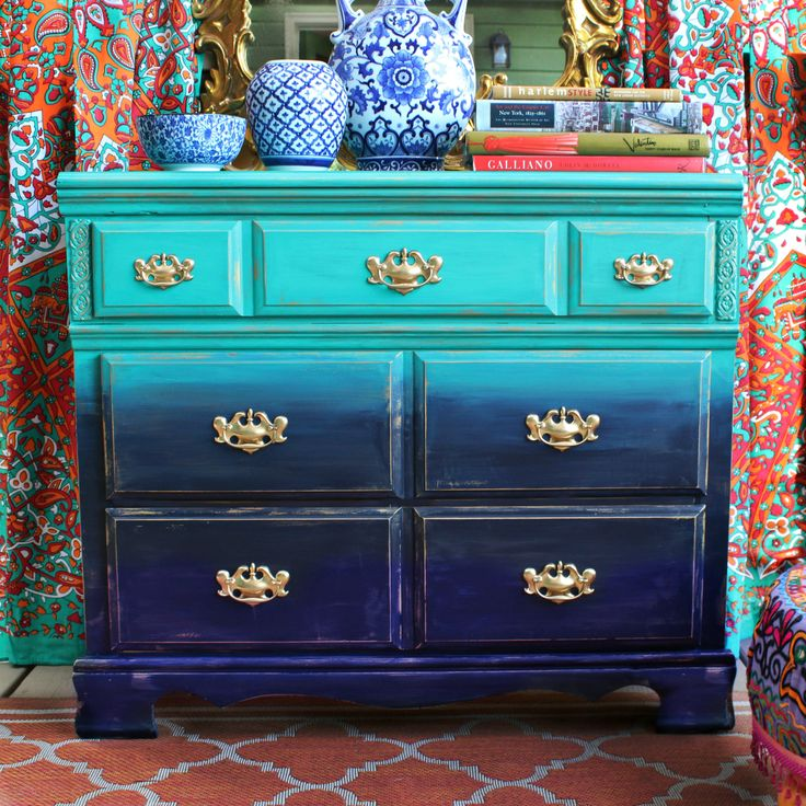 Join DIY guru Mark Montano for this amazing furniture makeover. Go under the sea with this mermaid-inspired dresser makeover! #decoartprojects