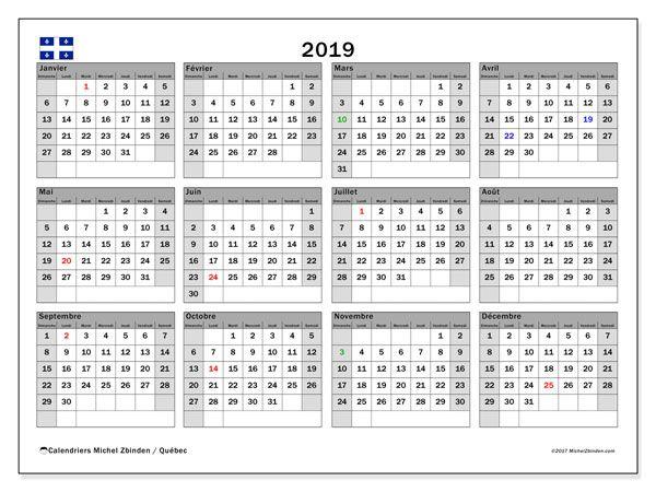 Calendrier Feries 2019.Calendrier 2019 Quebec Canada Calendrier 2018