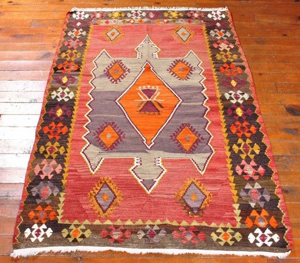 Kilim Rug, Tribal Turkish Carpet, Colorful Ethnic Bohemian Home decor, Living…