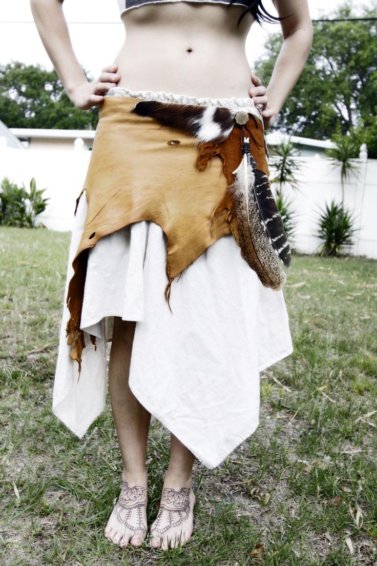 Tribal leather wrap skirt. $170.00, via Etsy.