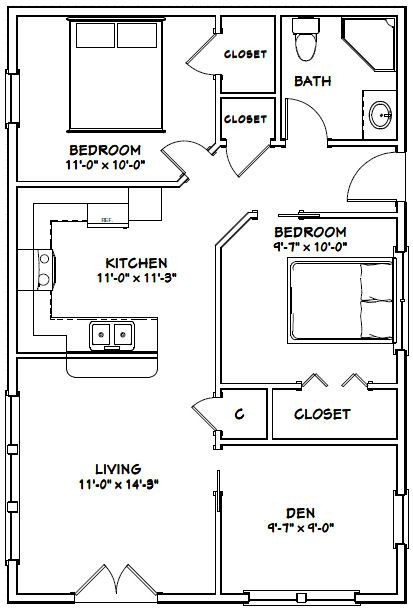 24x36 House -- #24X36H2 -- 864 sq ft....I would get rid of the second bedroom (remove walls) and make dining room instead.
