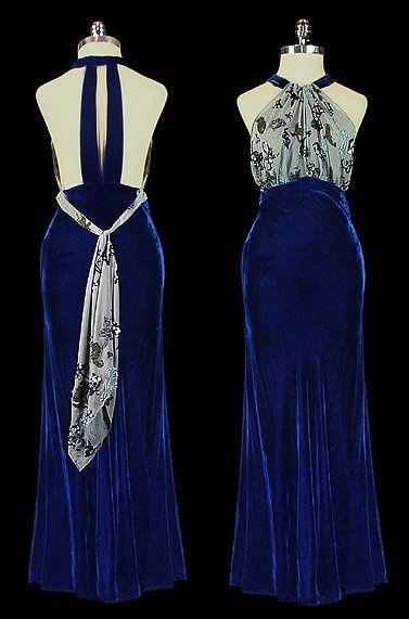 1930s Bias Cut Dress   Late 1930s halter dress with bias cut velvet skirt ...   style musings