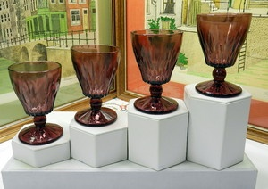 "SET OF 4 MOROCCAN AMETHYST HAZEL ATLAS CRYSTAL 4 3/8"" JUICE GLASSES BEING SOLD $38.95 FOR 4 GLASSES"