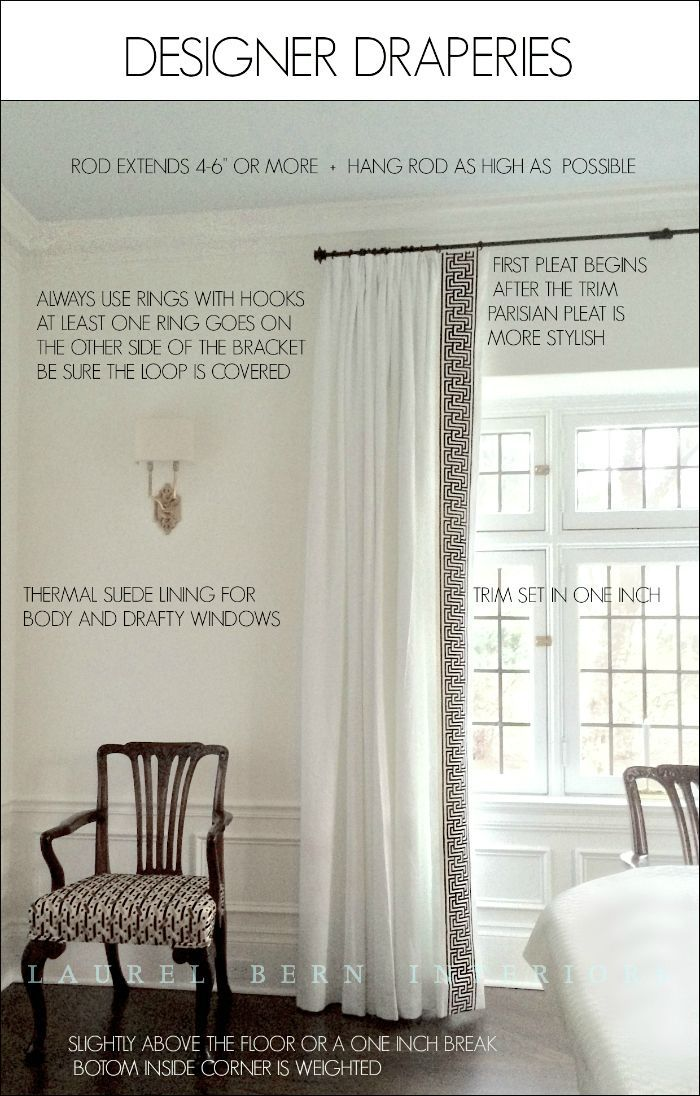 How To Get Window Treatments Like You See In Magazines - laurel home | white on white linen draperies with Mary McDonald Trim for F. Schumacher. Wall color - Benjamin Moore Cotton Balls oc-122