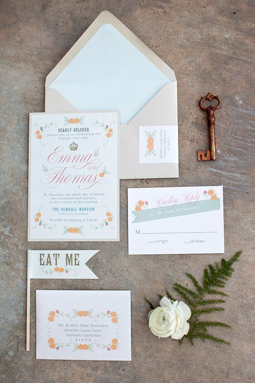 Alice in Wonderland wedding inspiration, Newhall Mansion, invitations by Prim and Pixie, photos by Becca Rillo Photography | via junebugweddings.com