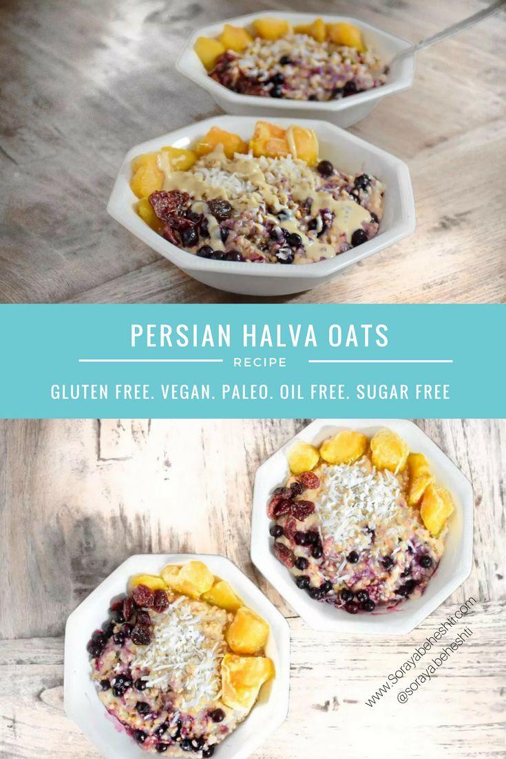 persian halva oats with tahini, dates, berries vegan